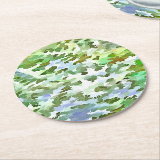 Foliage Abstract Pop Art In White Green and Powder Round Paper Coaster