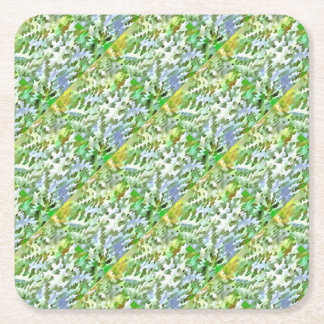 Foliage Abstract Pop Art In White Green and Powder Square Paper Coaster