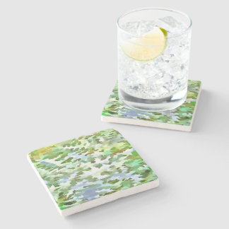 Foliage Abstract Pop Art In White Green and Powder Stone Coaster