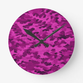 Foliage Abstract  Pop Art Violet Round Clock
