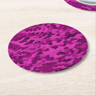 Foliage Abstract  Pop Art Violet Round Paper Coaster
