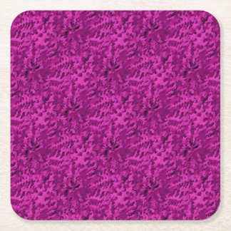 Foliage Abstract  Pop Art Violet Square Paper Coaster