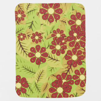 Foliage and flowers baby blanket