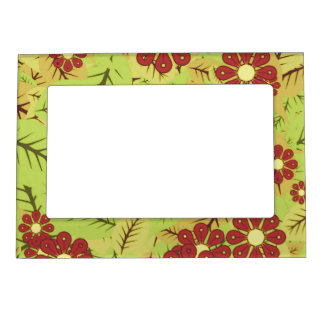 Foliage and flowers magnetic frame
