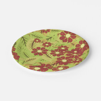 Foliage and flowers paper plate