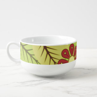 Foliage and flowers soup bowl with handle