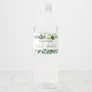 Foliage Bridal Shower Water Bottle Label