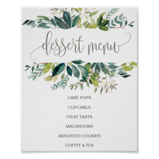 Foliage Dessert Menu Sign