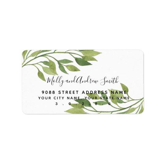 foliage greenery leaf address label party/wedding