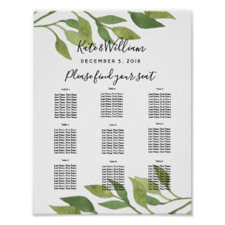Foliage greenery leaf Table plan party/wedding Poster