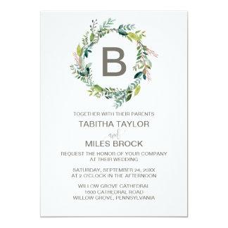 Foliage Monogram Wreath Wedding Card