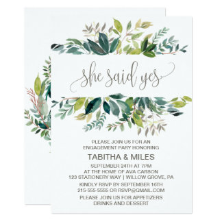 Foliage She Said Yes Engagement Party Card
