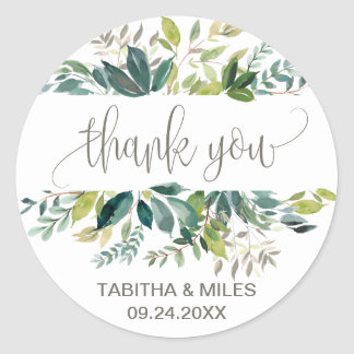 Foliage Thank You Favor Classic Round Sticker