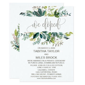 Foliage We Eloped Elopement Reception Card