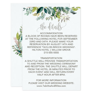Foliage Wedding Details Card