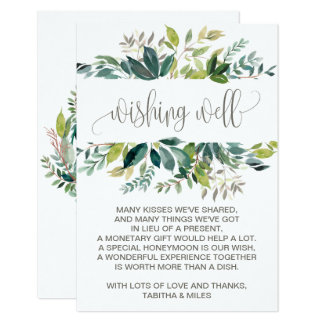 Foliage Wedding Wishing Well Card