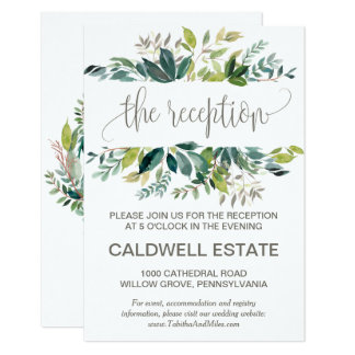 Foliage Wreath Monogram Wedding Reception Insert Card