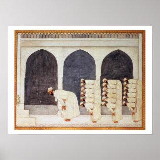 Folio.38a A Mogul prince in a mosque leading Frida Poster