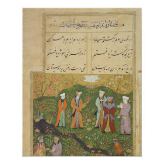 Folio 39, A garden scene, from the 'Bustan of Sa'd Poster