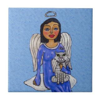 Folk Art Angel Blue eyes White Angel Cat on Cloud Tile