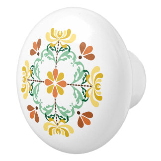 Folk Art Autumn Chrysanthemum Ceramic Knob