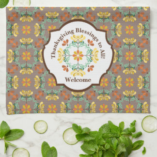 Folk Art Autumn Chrysanthemum Thanksgiving Tea Towel