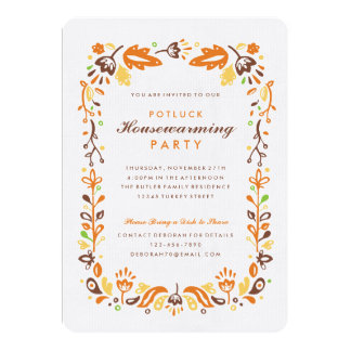 Folk Art Autumn Foliage Housewarming Party Card