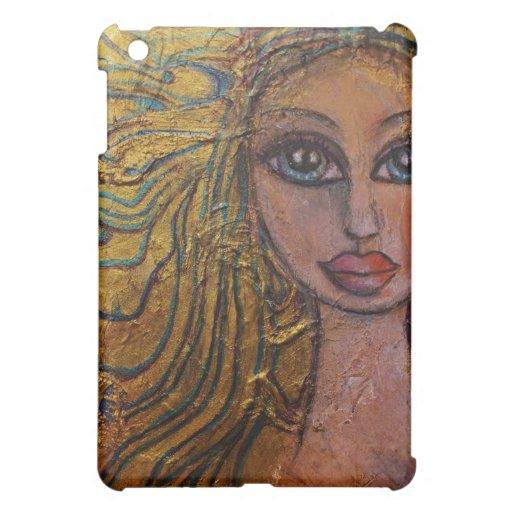 Folk Art Big Eye Art iPad Case Whimsical Golden