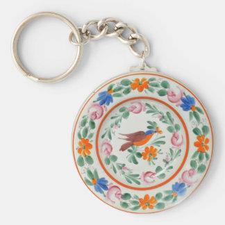 Folk Art Bird and flowers Basic Round Button Key Ring