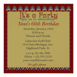 "Folk Art Bordered Invitation 5.25"" Square Invitation Card"