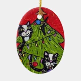Folk Art Cats Christmas Tree Ceramic Ornament