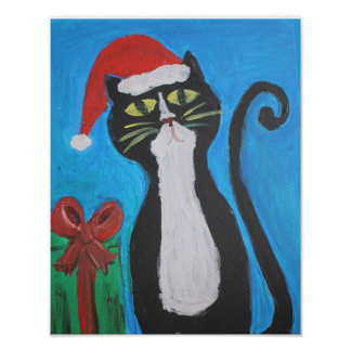 Folk Art Christmas Cat Poster