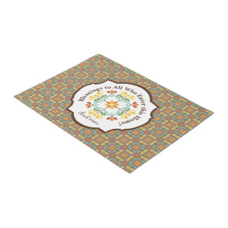 Folk Art Chrysanthemum Autumn Pattern Personalized Doormat