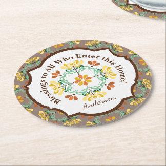 Folk Art Chrysanthemum Autumn Pattern Personalized Round Paper Coaster