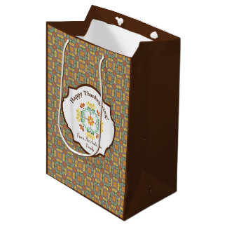 Folk Art Chrysanthemum Autumn Personalized Medium Gift Bag