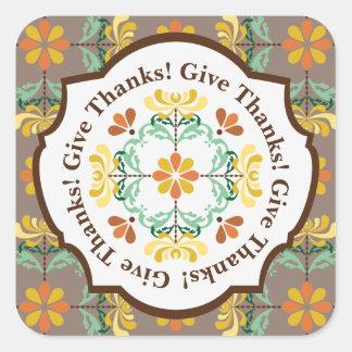 Folk Art Chrysanthemum Pattern Thanksgiving Square Sticker
