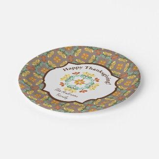 Folk Art Chrysanthemum Personalized Thanksgiving Paper Plate