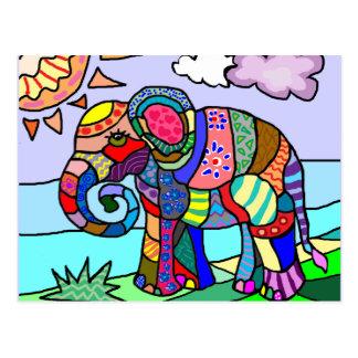Folk art colorful artistic elephant painting postcard