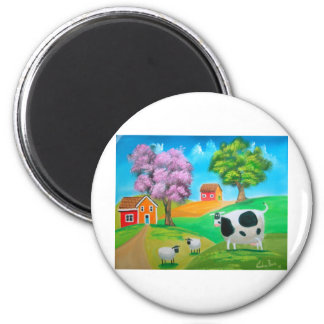 Folk art colourful cow and sheep painting 6 cm round magnet