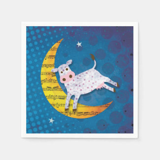 Folk Art Cow Jumped Over the Moon Nursery Rhyme Disposable Serviette