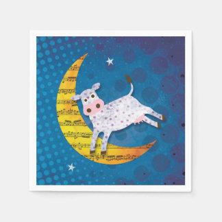 Folk Art Cow Jumped Over the Moon Nursery Rhyme Disposable Serviette