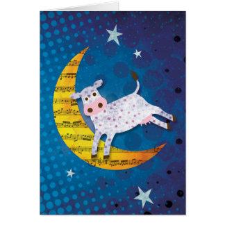 Folk Art Cow Jumped Over the Moon Nursery Rhyme Greeting Card