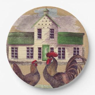 Folk Art Farmyard Chickens Rustic Design Paper Plate