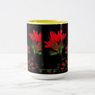 Folk Art-Flavored Indian Paintbrush Design Two-Tone Coffee Mug