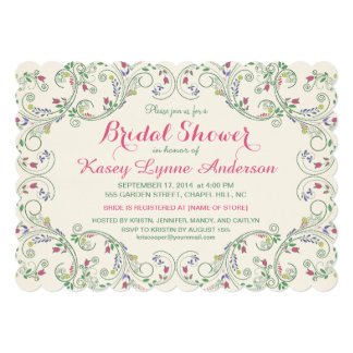 Folk Art Floral Wreath Bridal Shower Invitations