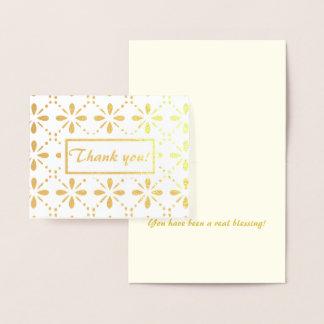Folk Art Flowers Pattern Thank You Gold Foil Card