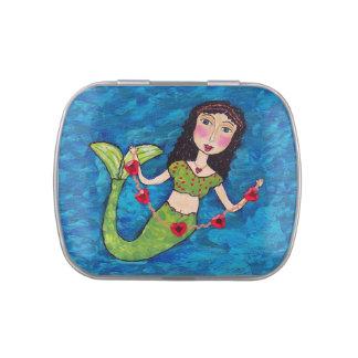 Folk Art Green Mermaid String of Red Hearts Candy Tin