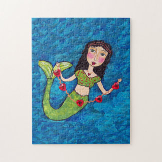 Folk Art Green Mermaid String of Red Hearts Jigsaw Puzzle