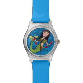 Folk Art Green Mermaid String of Red Hearts Wristwatch