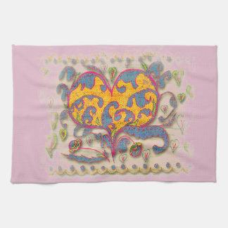 Folk Art Heart with leaves and flowers Tea Towel